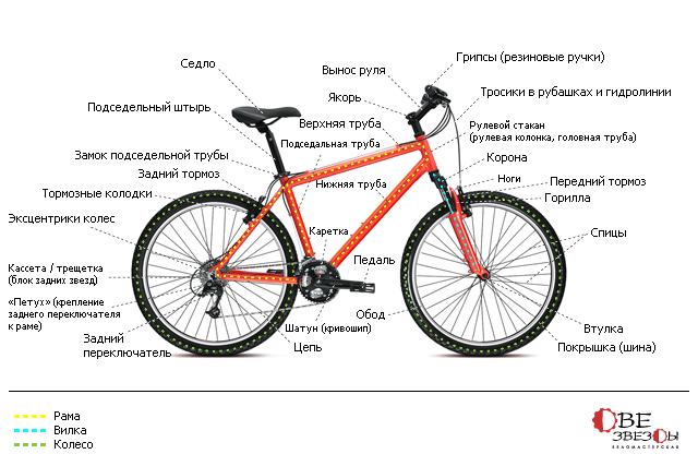 Строение горного велосипеда